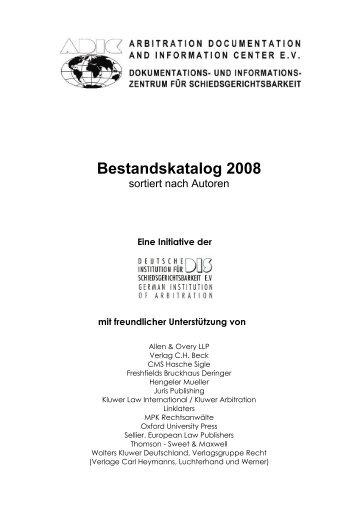 Bestandskatalog 2008 - ADIC