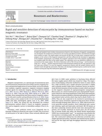 Biosensors and Bioelectronics Rapid and sensitive detection of ...