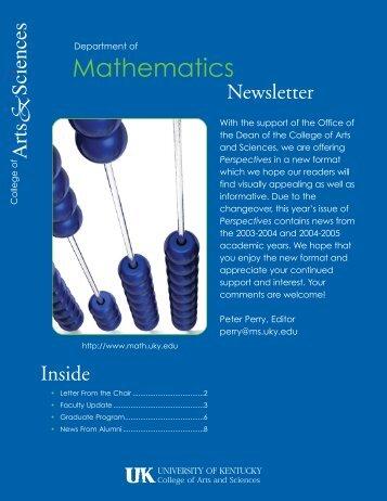 Mathematics - UK College of Arts & Sciences - University of Kentucky