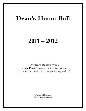 Dean's Honor Roll 2011 - Faculty of Science - University of Alberta