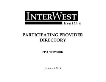 Participating Provider Directory - InterWest Health