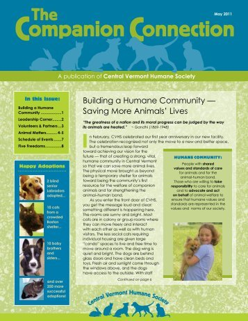 Building a Humane Community - Central Vermont Humane Society