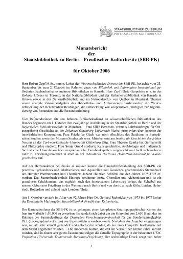 Oktober 2006 - Staatsbibliothek zu Berlin