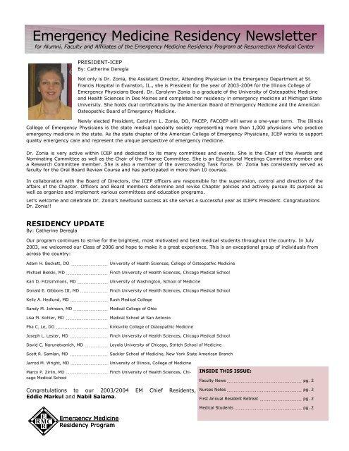 Winter 2003 Newsletter - Resurrection Health Care