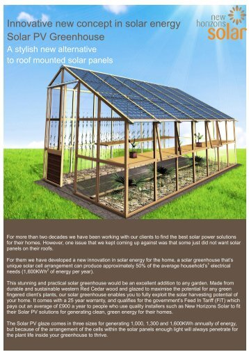 Innovative new concept in solar energy Solar PV Greenhouse