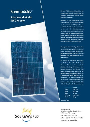 SolarWorld Modul SW 210 poly - A.V.M. STav