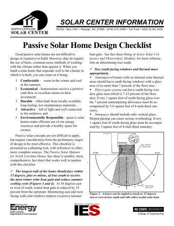 Passive Solar Home Design Checklist North Carolina Solar Center