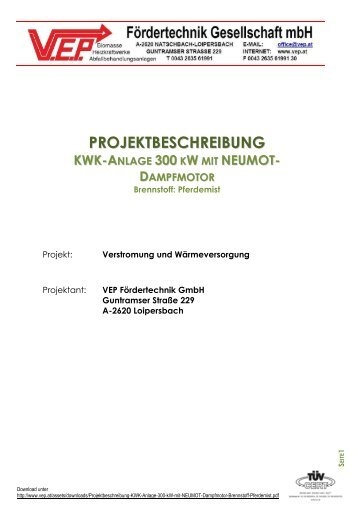 Projektbeschreibung-KWK-Anlage-300-kW-mit-NEUMOT ... - vep.at