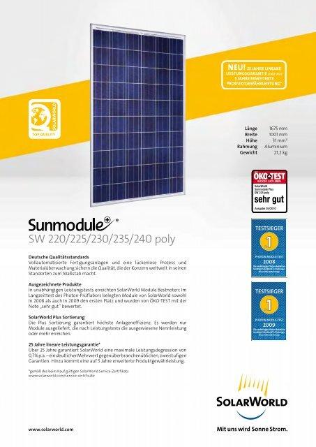Download SOLARWORLD-SW-220-240-poly.pdf - Solar Partner