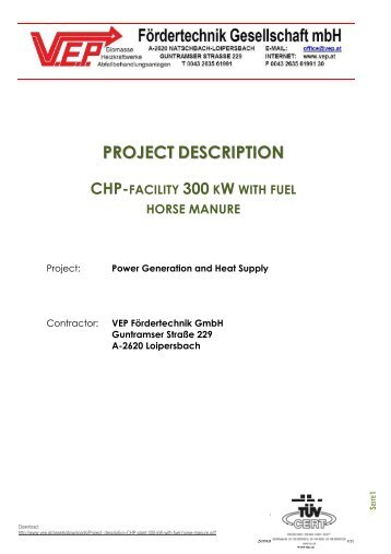 PROJECT DESCRIPTION CHP-FACILITY 300 KW WITH FUEL - vep.at