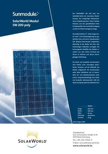 SolarWorld Modul SW 200 poly