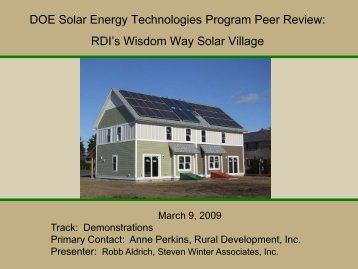 Wisdom Way Solar Village - EERE - U.S. Department of Energy