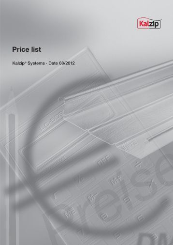 Price list Kalzip® Systems