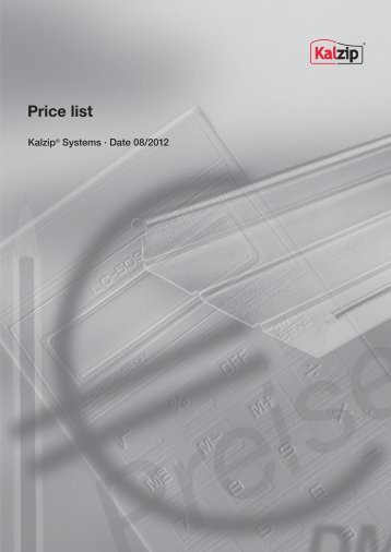 Price list Kalzip® Systems