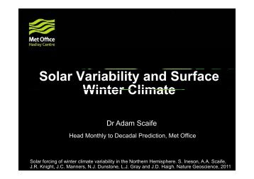 Solar Variability and Surface Winter Climate