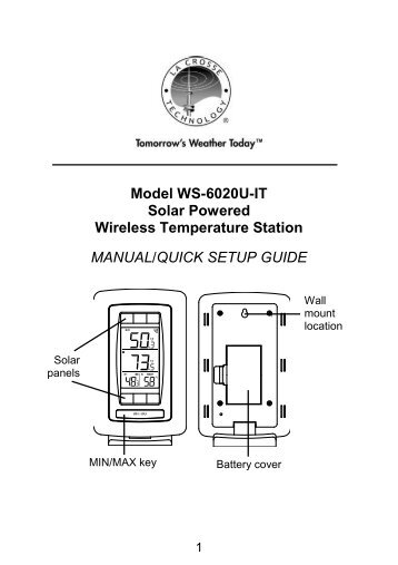 Model WS-6020U-IT Solar Powered Wireless Temperature Station ...