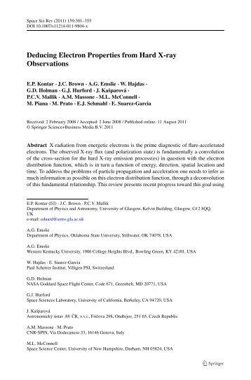 Deducing Electron Properties from Hard X-ray ... - Rhessi - NASA