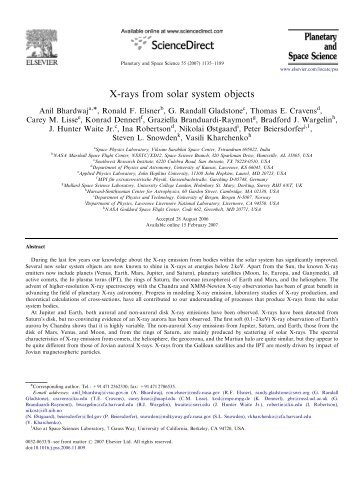 X-rays from solar system objects - High Energy Astrophysics Division
