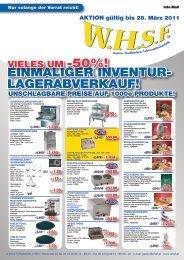 EinMALiGER inVEntUR- LAGERABVERkAUF! - WHSF