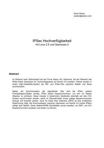 IPSec Hochverfügbarkeit