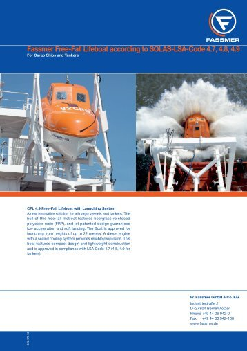 Fassmer Free-Fall Lifeboat according to SOLAS-LSA-Code 4.7, 4.8 ...