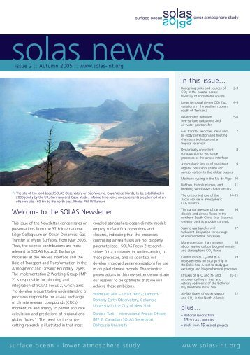 in this issue... plus... Welcome to the SOLAS Newsletter