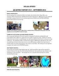 SOLASA SPORTS QUARTERLY REPORT JULY – SEPTEMBER 2012