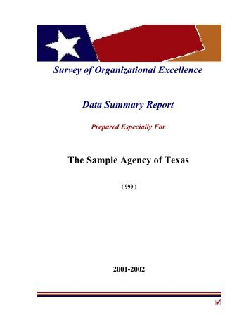 Survey of Organizational Excellence Data Summary Report The ...