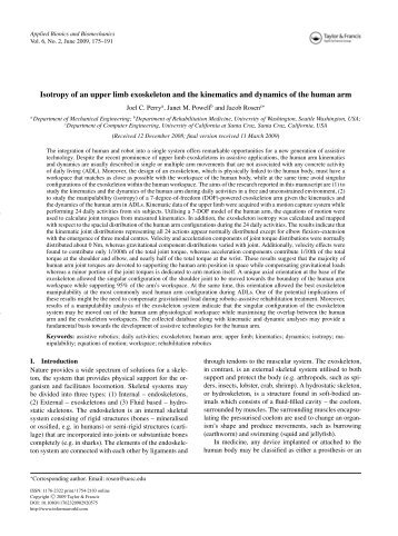 Isotropy of an upper limb exoskeleton and the ... - Bionics Lab
