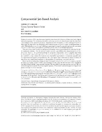 Componential Set-Based Analysis - CiteSeerX