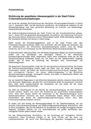 Einführung der gesplitteten Abwassergebühr in der Stadt Fritzlar 5 ...