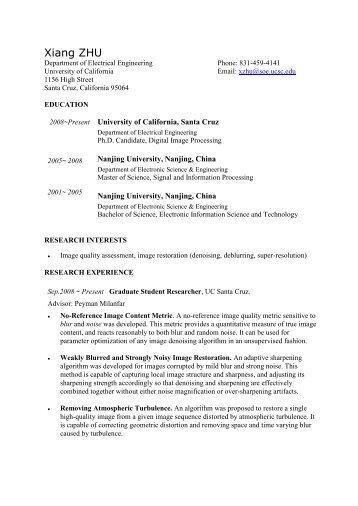 Xiang ZHU - University of California, Santa Cruz