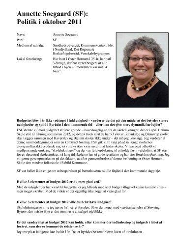 Annette Søegaard om Byrådet i oktober 2011 - Øster Hornum Portalen