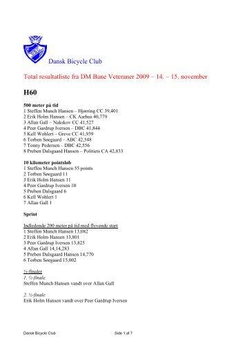 Resultatliste fra DM Bane Veteraner 2009 - Dansk Bicycle Club