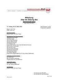 Mitteilung über die Sitzung des Gemeinderates - Gemeinde Silz ...