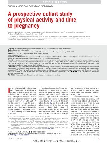 A prospective cohort study of physical activity and time to pregnancy