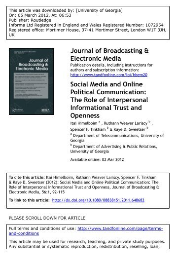 role of social media in communication pdf