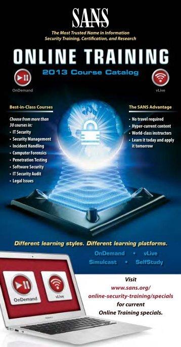 2013 Online Training Catalog - SANS Institute