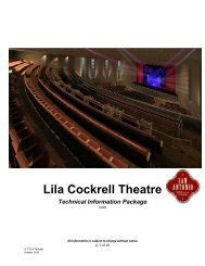 Technical Information Package for the Lila Cockrell Theatre