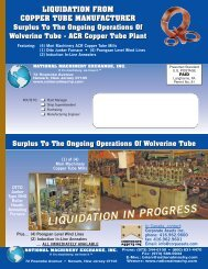 Wolverine Tube - ACR Copper Tube Plant - National Machinery ...