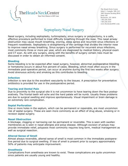 Septoplasty/Nasal Surgery - The Head + Neck Center