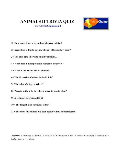 ANIMALS II TRIVIA QUIZ - Trivia Champ