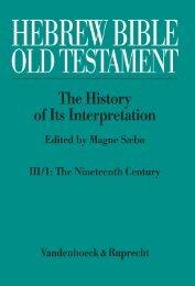 Hebrew Bible / Old Testament - Vandenhoeck & Ruprecht