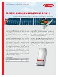 Fronius EnErgiEmanagEmEnt rElais - Fronius Deutschland GmbH
