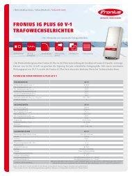 fronius ig plus 60 v-1 trafowechselrichter - Fronius International GmbH