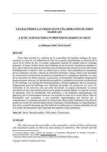 LES BACTÉRIES LACTIQUES DANS L - Académie d'Agriculture de ...