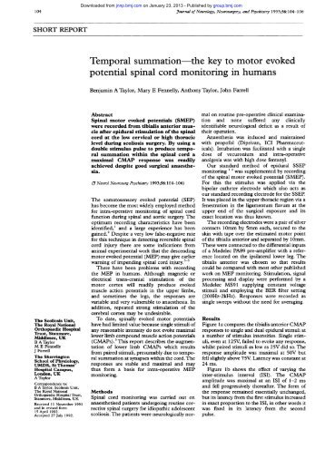 Articles of interest spinal cord tumors impulse for Motor evoked potential monitoring