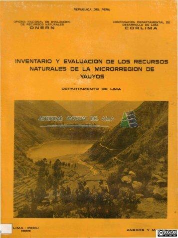 Inventario y evaluación de los recursos naturales de - Autoridad ...