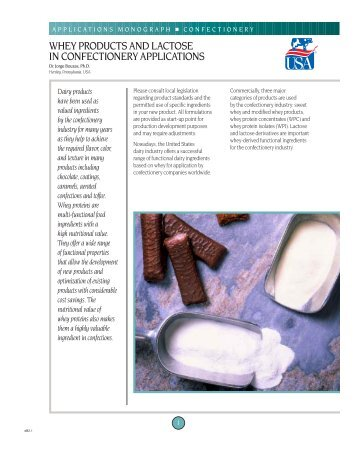 Whey products and lactose in confectionary applications