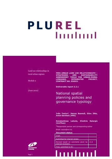 National spatial planning policies and governance typology - Plurel